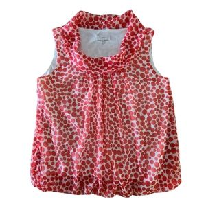 Summer Red White Polkadot Cowl Neck Top Size 12